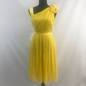 MAGGY OF LONDON VTG Yellow Silk Cocktail Dress 6